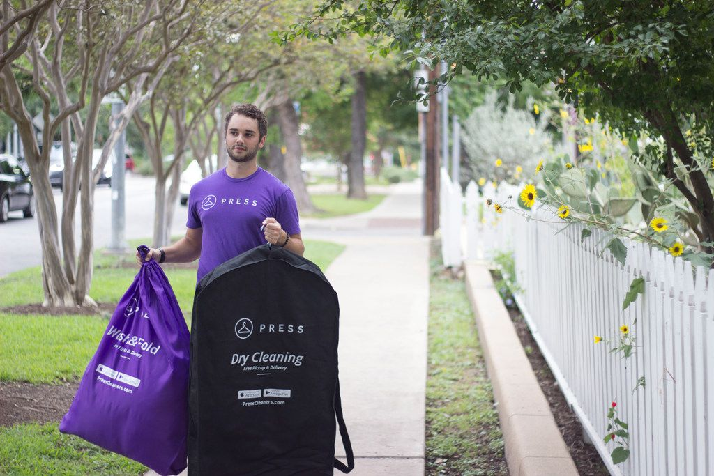 Austin-based Press Technologies partners with local dry cleaners in the Dallas area for its Press Cleaners on-demand dry cleaning and laundry service.