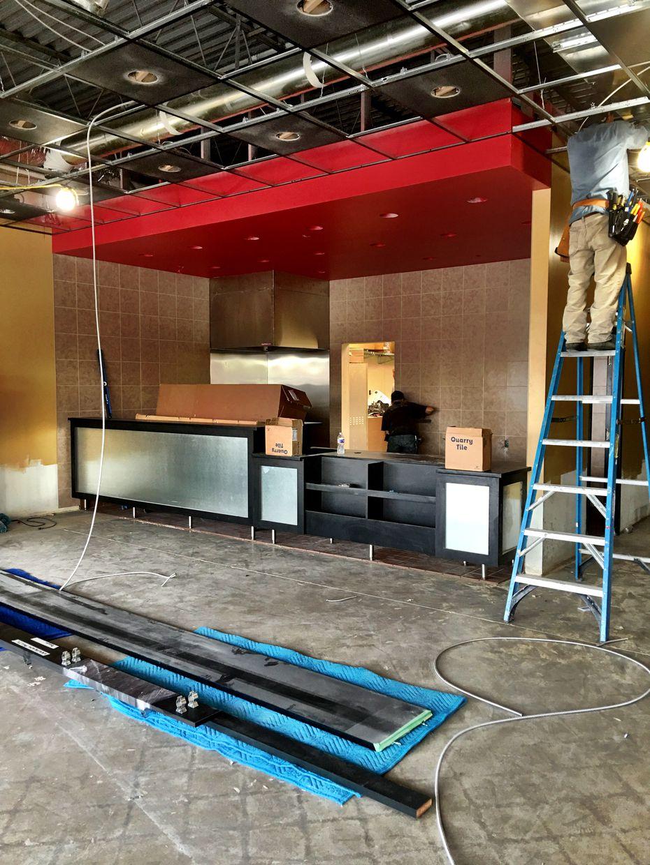 Construction at D-FW's first Erbert and Gerbert's Sandwich Shop, opening August 6, 2016.