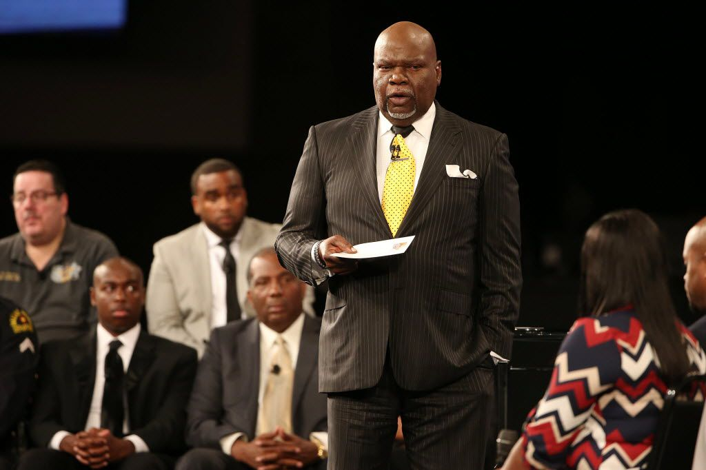 "Bishop T.D. Jakes spoke during a town hall held during worship services at The Potter'•s House in Dallas last July. During the town hall, titled ""Conversations with America"""" and hosted by Bishop T.D. Jakes, key topics such as racial polarization, criminal justice, the economy and national security were discussed. The event followed a week of two high-profile killings of black men by police officers and the deaths of five Dallas police officers following a peaceful Black Lives Matter protest.  (Andy Jacobsohn/The Dallas Morning News)"