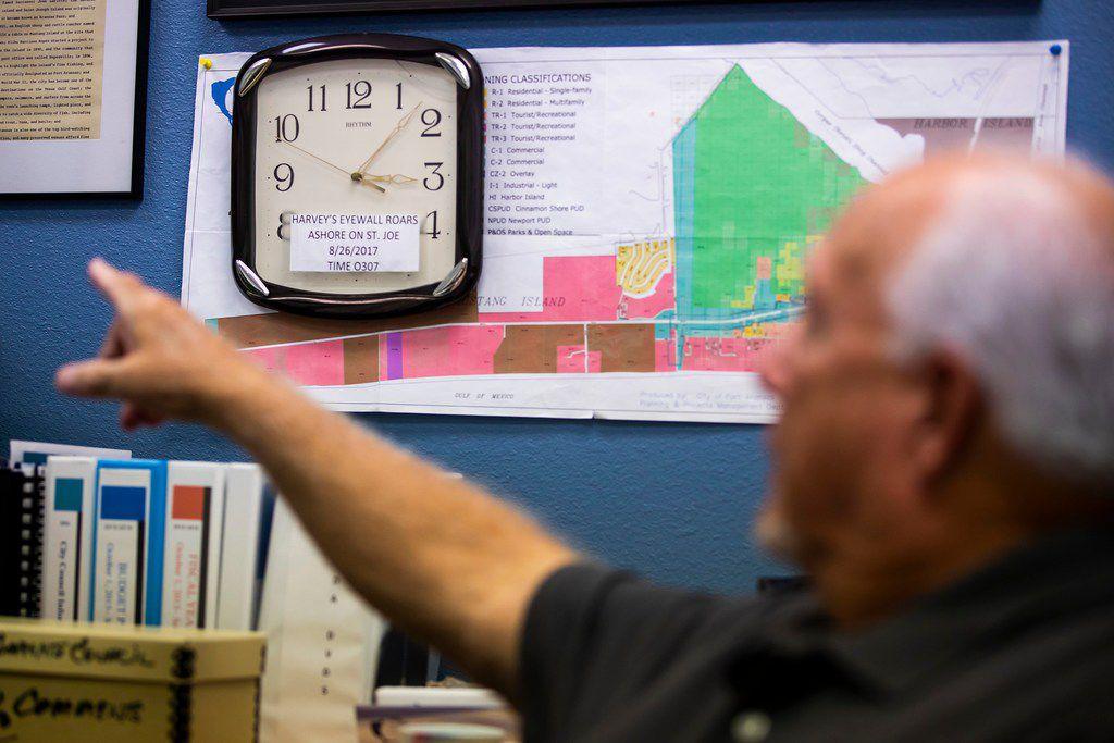 A clock behind the desk of Port Aransas Mayor Charles Bujan marks the moment Hurricane Harvey made landfall on the Texas Gulf Coast.