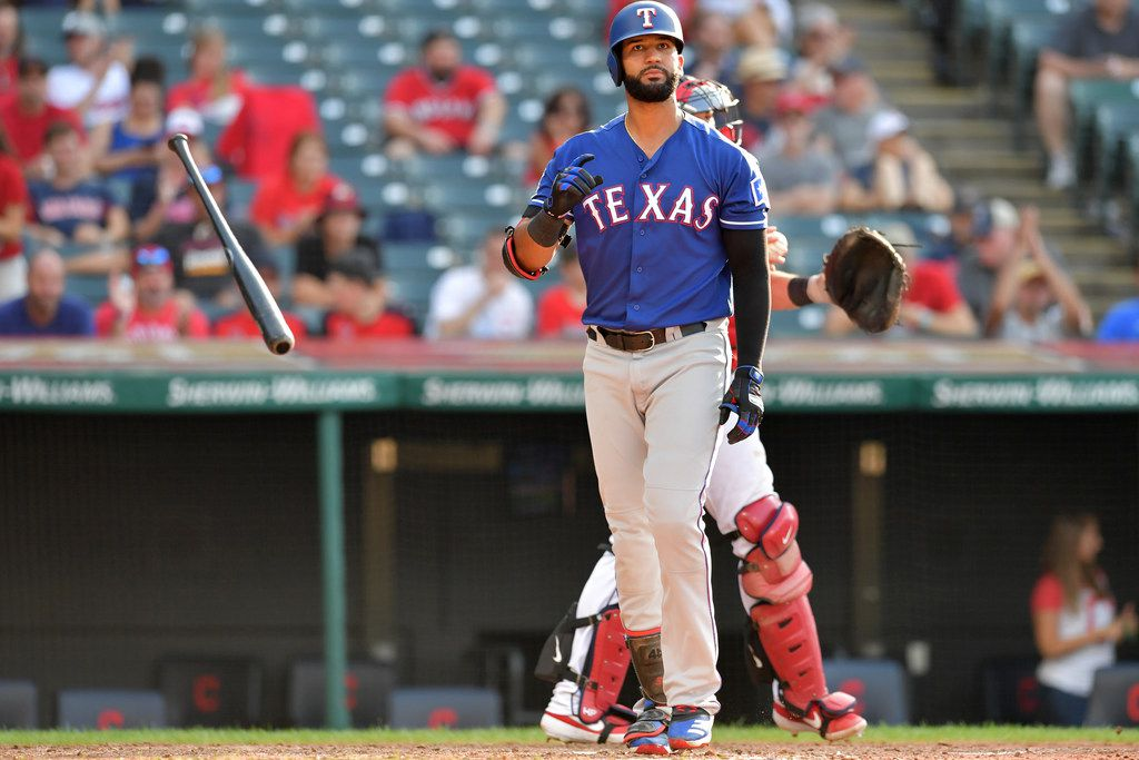 CLEVELAND, OHIO - AUGUST 07: Nomar Mazara #30 of the Texas Rangers tosses his bat after striking out to end the top of the seventh inning of game two of a double header against the Cleveland Indians at Progressive Field on August 07, 2019 in Cleveland, Ohio. (Photo by Jason Miller/Getty Images)