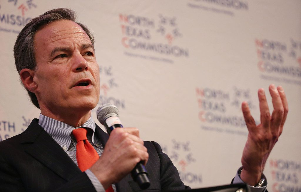 "Former Speaker of the Texas House Joe Straus speaks during the TO THE POINT speaking series hosted by the North Texas Commission at the Dallas/Fort Worth Airport Marriott in Irving on Monday, Feb. 26, 2018. On Wednesday, Straus announced he's forming a new PAC to ""promote a thoughtful, conservative approach to governing.""  (Andy Jacobsohn/The Dallas Morning News)"