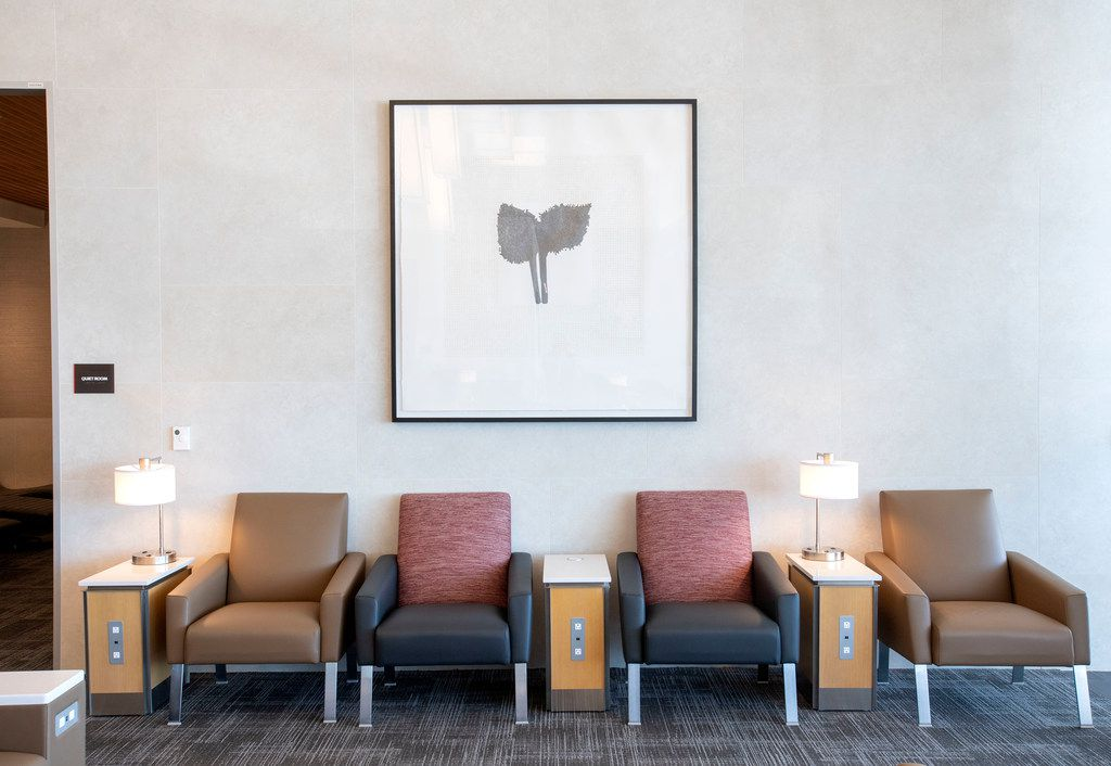 Artwork hangs over a seating area in the new American Airlines Flagship Lounge on Monday, May 13, 2019 in Terminal D at DFW Airport in Grapevine, Texas. (Jeffrey McWhorter/Special Contributor)