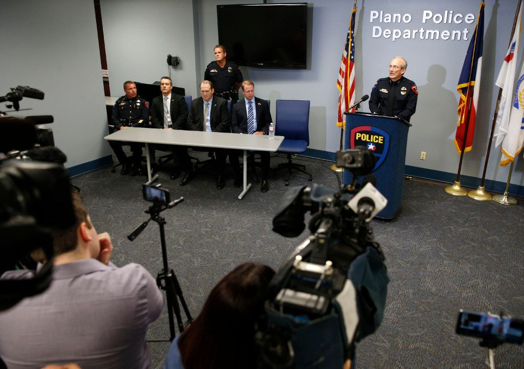 Plano Police Chief Gregory Rushin speaks to the media during a press conference at the Plano Police Department in Plano on Monday, September 11, 2017. Chief Rushin gave more details about the house where multiple people were found dead on the 1700 block of W. Spring Creek Parkway.