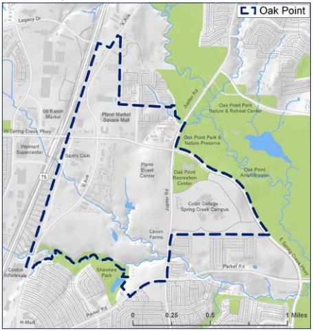 This map identifies the 730 acres addressed through the Envision Oak Point plan approved by the Plano City Council on Monday.