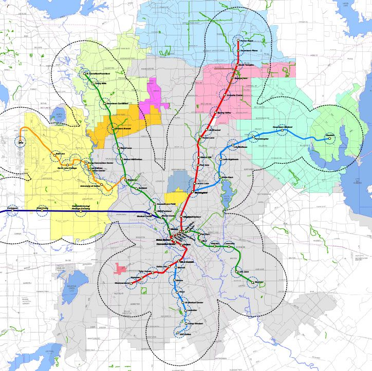 A map of North Texas shows the areas that are within one-quarter mile and three miles of a rail station. Dallas City Council member Lee Kleinman said the gap in the northern part of DART's service area shows the need for rail service on the Cotton Belt line.