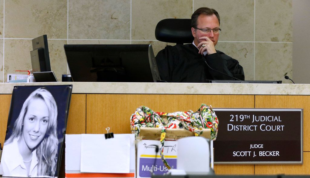 Judge Scott Becker (right) presides during the Jason Lowe murder trial at the Collin County Courthouse in McKinney, Texas, on Monday, Sept. 18, 2017.
