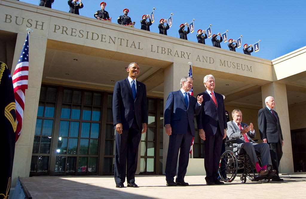 The five living presidents (from left) Barack Obama, George W. Bush, Bill Clinton, George H.W. Bush, and Jimmy Carter were introduced at the George W. Bush Presidential Center dedication in University Park, Texas, Thursday, April 25, 2013.