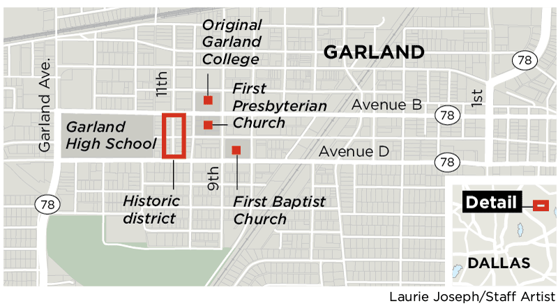 Garland's Travis College Hill District includes 18 structures defined as contributing to history.