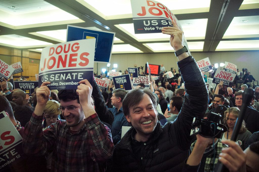 Supporters of Doug Jones, the Democratic candidate for U.S. Senate, celebrate at an election night gathering in Birmingham, Ala., on Dec. 12, 2017. Jones, a former prosecutor who mounted a seemingly quixotic campaign in the face of Republican dominance here, defeated his scandal-scarred opponent, Roy Moore, after a brutal campaign marked by accusations of sexual abuse and child molestation against the Republican.