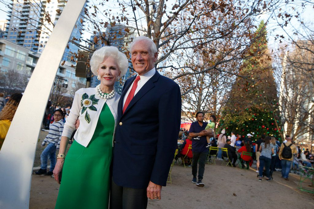 Jody and Sheila Grant pose for a portrait during the tree lighting at Klyde Warren Park on Dec. 1, 2018.