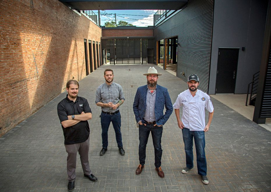 (From left) Andrew Popp, Alex Fletcher, Josh Uecker and Adam Kovac will all be leaders in the new Harlowe MXM development in Deep Ellum. The two restaurants will open some time in 2017. Photograph taken Friday, November 11, 2016 in Dallas. (G.J. McCarthy/The Dallas Morning News)