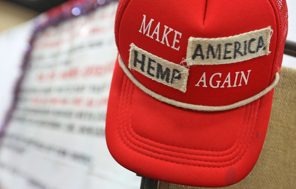 """A """"Make America Great Again"""" cap has been altered and put on display at the Texas Hemp Industries Association booth at the 2018 Texas GOP Convention held at the Henry B. González Convention Center in downtown San Antonio. Texas on Thursday, June 14, 2018. On March 15, 2019, the state of Texas declassified hemp as a Schedule I controlled substance, meaning it will soon be legal to purchase CBD and other hemp products here. (Louis DeLuca/The Dallas Morning News)"""