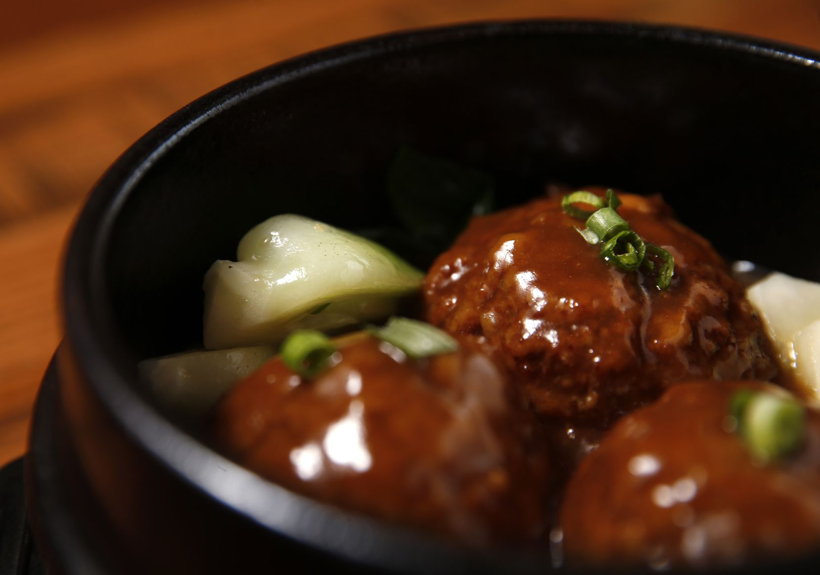 Jumbo braised meatballs with bok choy