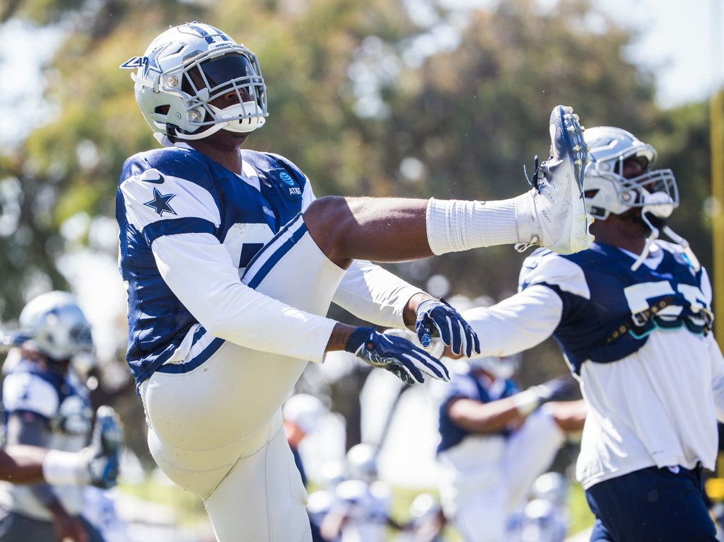Dallas Cowboys defensive end Dorance Armstrong (92) warms up during an afternoon practice at training camp in Oxnard, California on Tuesday, August 6, 2019. (Ashley Landis/The Dallas Morning News)