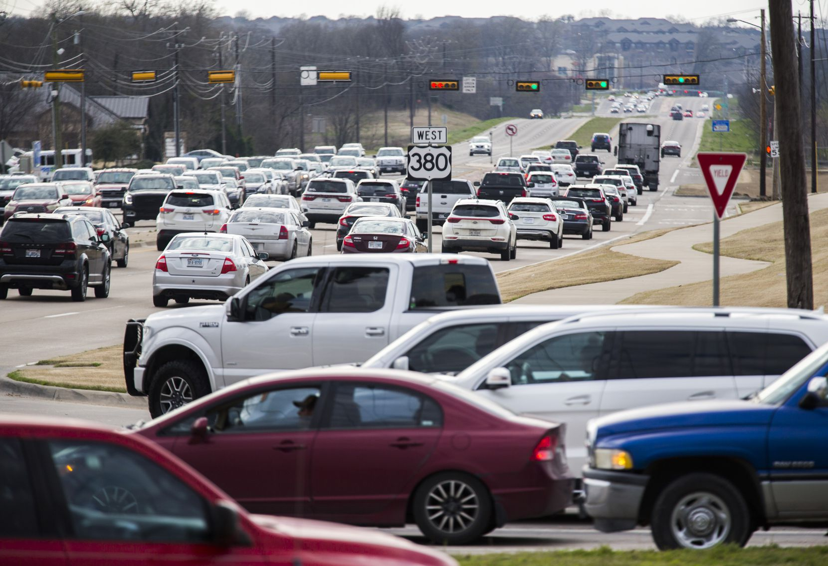 Traffic backs up at evening rush hour on U.S. Highway 380 near Lake Forest Drive in McKinney.