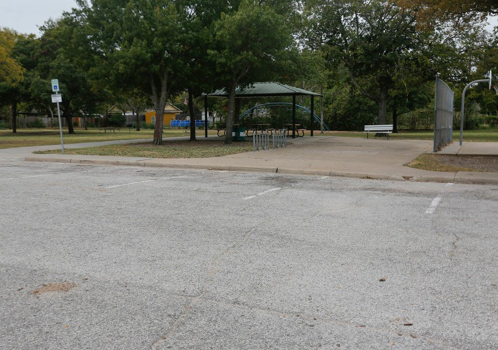 The pavilion and parking lot at Embree Park in east Garland, near the site of a fatal fight Oct. 20. A 15-year-old died after being shot in the head, and a 17-year-old faces a murder charge.