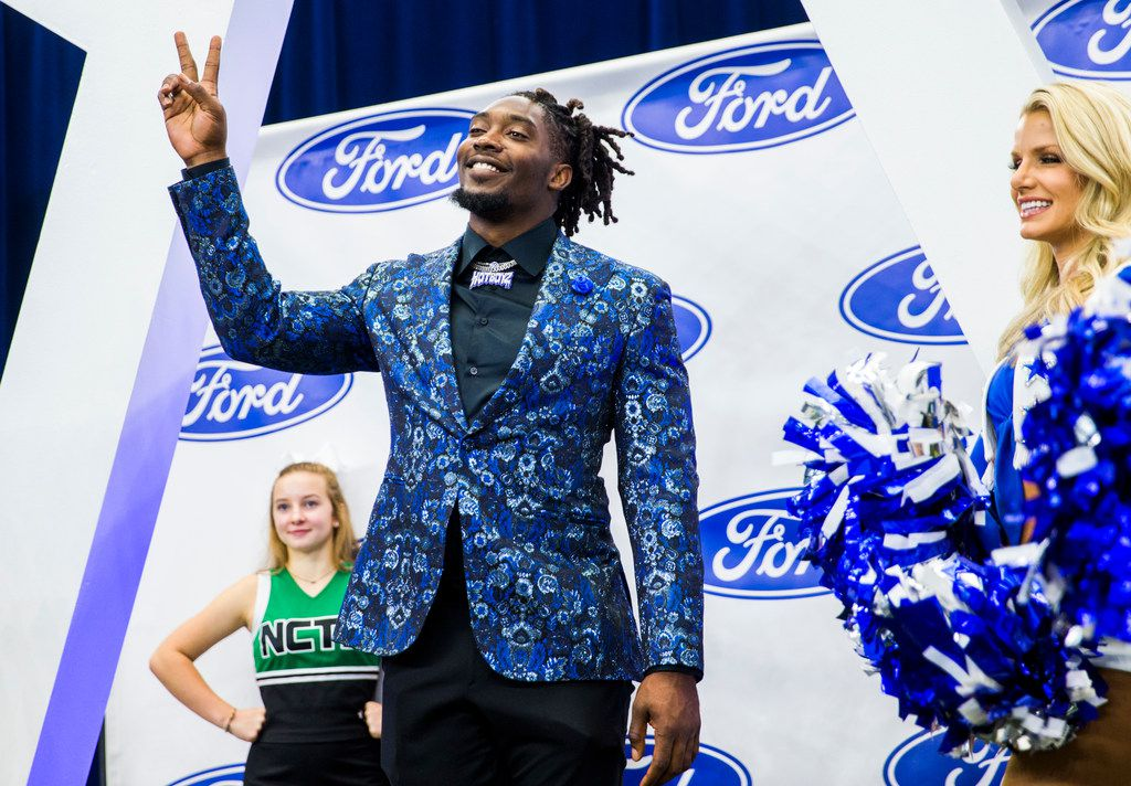 Demarcus Lawrence enters the field during the 2019 Dallas Cowboys Kickoff Luncheon on Wednesday, August 28, 2019 at AT&T Stadium in Arlington. The luncheon benefited the Dallas Cowboys Charity House at Happy Hill Farms.