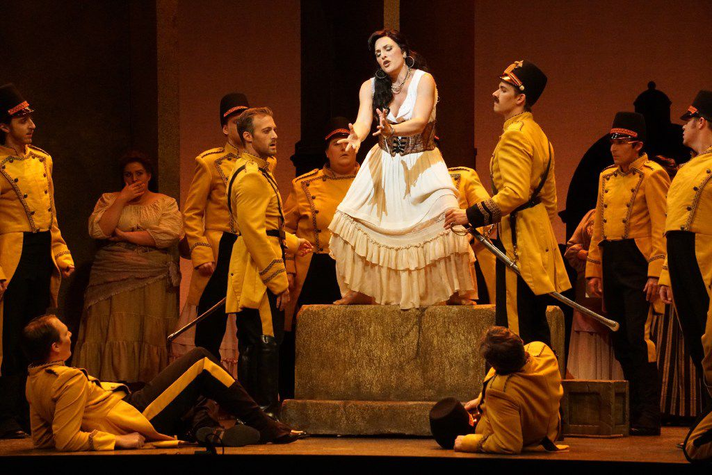 """Audrey Babcock portrays Carmen in a dress rehearsal of the Fort Worth Opera production of """"Carmen"""" at Bass Performance Hall in Fort Worth, Texas on April 20, 2017."""