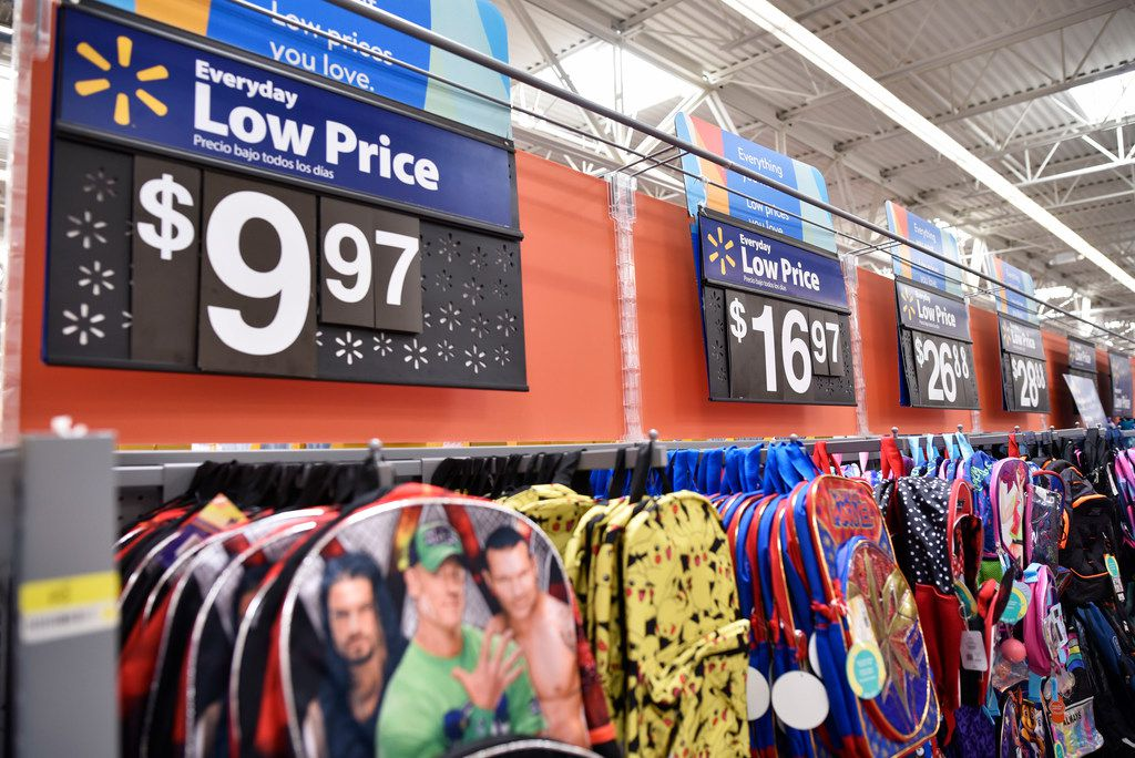 Back to school sales for backpacks inside a Walmart Supercenter off of Lyndon B. Johnson Freeway in north Dallas.