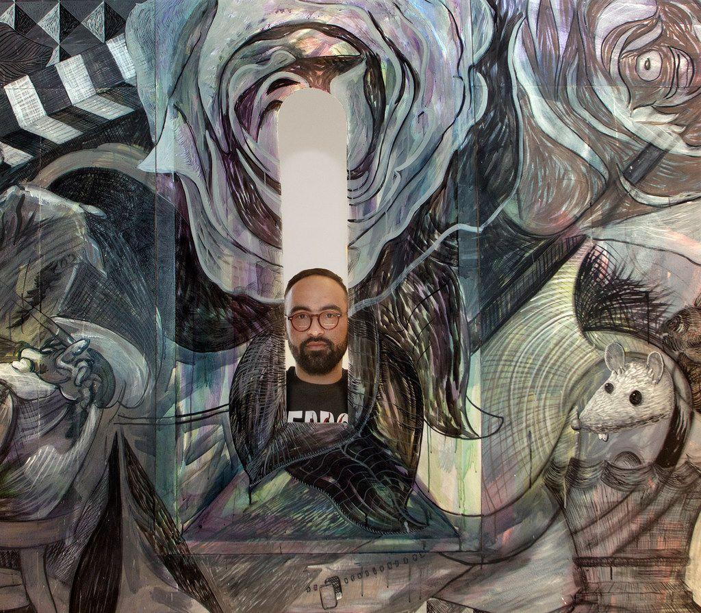 "Artist Francisco Moreno, with a detail at his barrel-vaulted chapel at Erin Cluley Gallery in Dallas on April 3, 2018. ""Francisco Moreno: The Chapel and Accompanying Works"" opens on Saturday April 7 and runs through May 19, 2018."