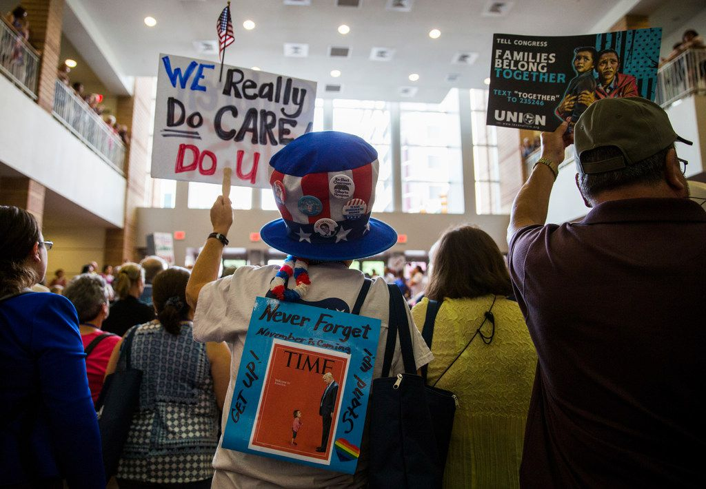 Irene Andrews holds a sign during a Families First Rally at the Texas Democratic Convention on Saturday, June 23, 2018 at the Fort Worth Convention Center in Fort Worth.