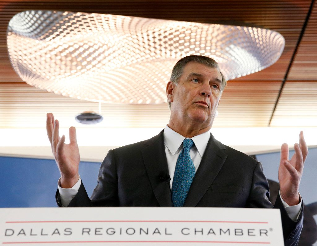 """Dallas mayor Mike Rawlings, pictured last month at the Dallas Regional Chamber office, argued that an overhaul of the so-called """"public charge"""" test could have a """"deleterious impact"""" on Dallas' immigrant community, economy and public health."""