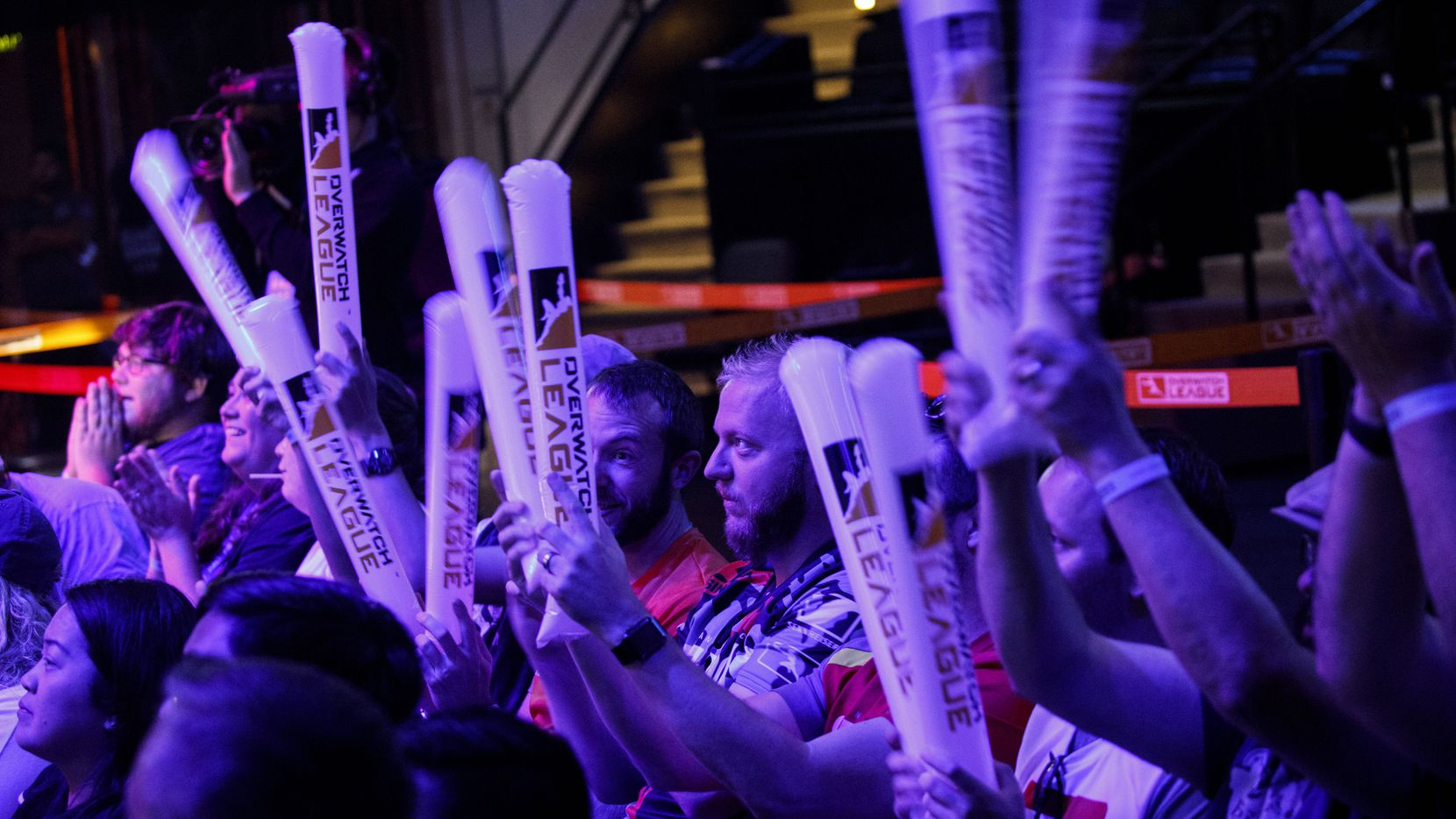 Overwatch fans cheer during the Overwatch League team match between the Dallas Fuel and New York Excelsior on Saturday, June 29, 2019 in Burbank, Calif.
