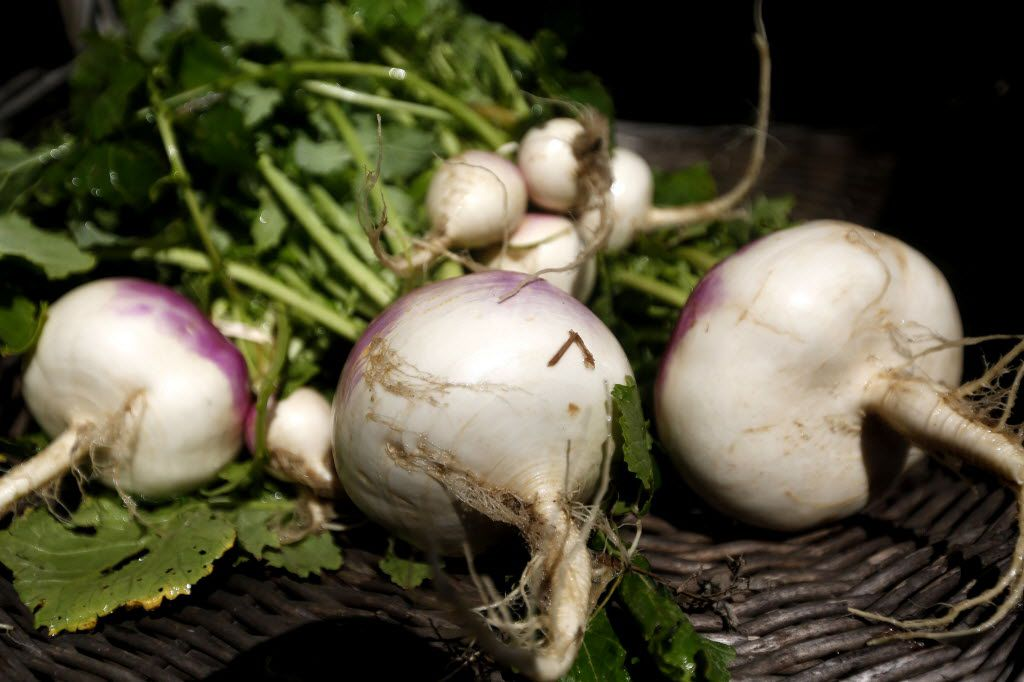 Locally grown turnips from Baugh Farms in Wills Point