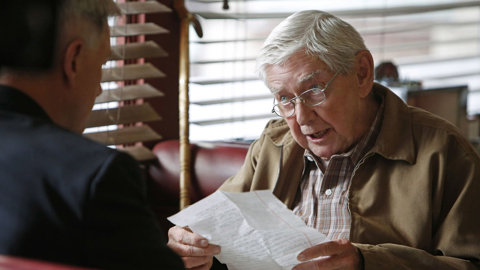 """This photo released by CBS shows Mark Harmon, left, as Leroy Jethro Gibbs, and Ralph Waite, as Jackson Gibbs, in an episode, """"Better Angels"""" in """"NCIS,"""" on the CBS Television Network. Waite, 85, who played the father in TV's hit series """"The Waltons,"""" has died. Waite's manager, Alan Mills, says the actor died midday Thursday, Feb. 13, 2014, in the Palm Springs area. (AP Photo/CBS, Cliff Lipson)"""