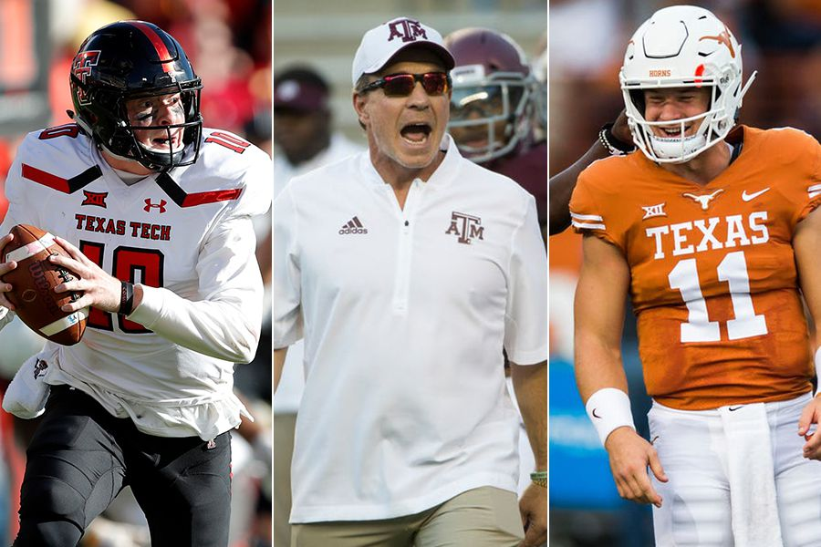 Pictured from left to right: Texas Tech quarterback Alan Bowman, Texas A&M coach Jimbo Fisher and Texas quarterback Sam Ehlinger.