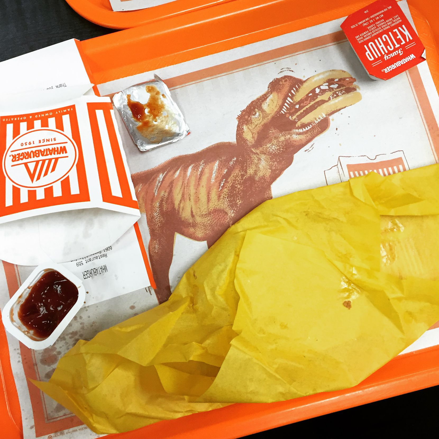 The remains of my first Whataburger. It was delicious.
