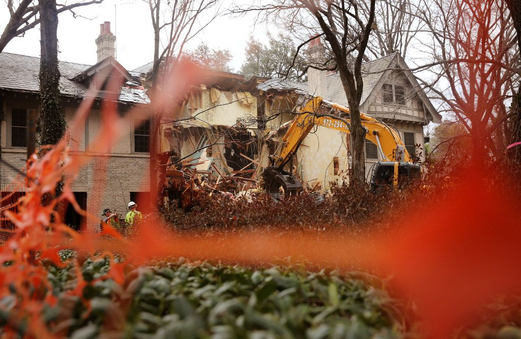 The beginning of the end of the 105-year-old Tudor on Turtle Creek built for the co-founder of the Dallas Country Club