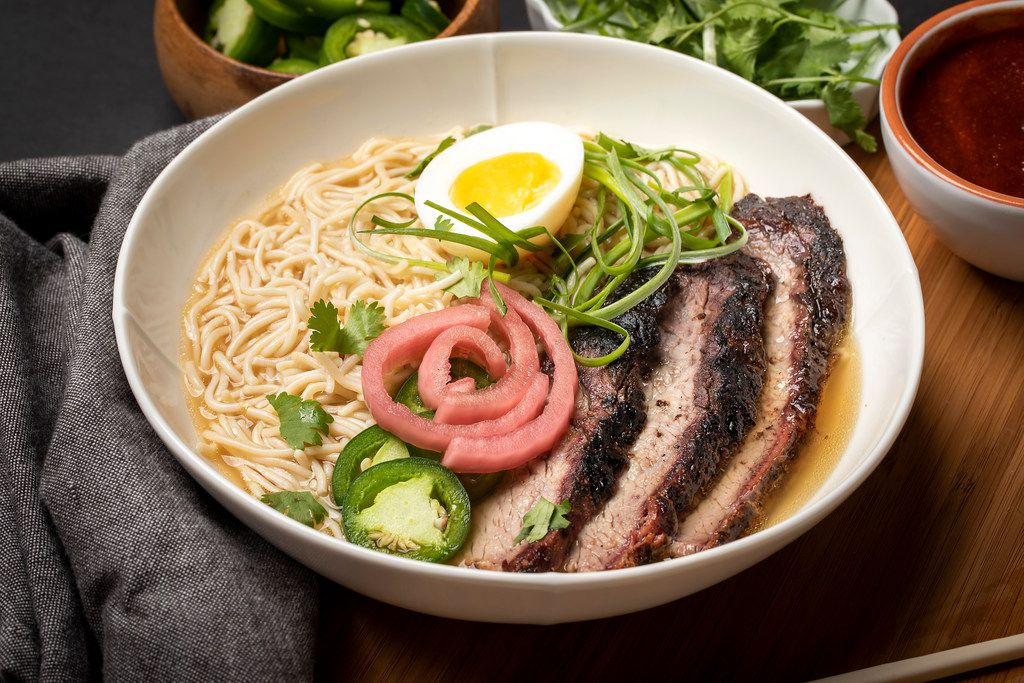 Texas ramen soup with brisket