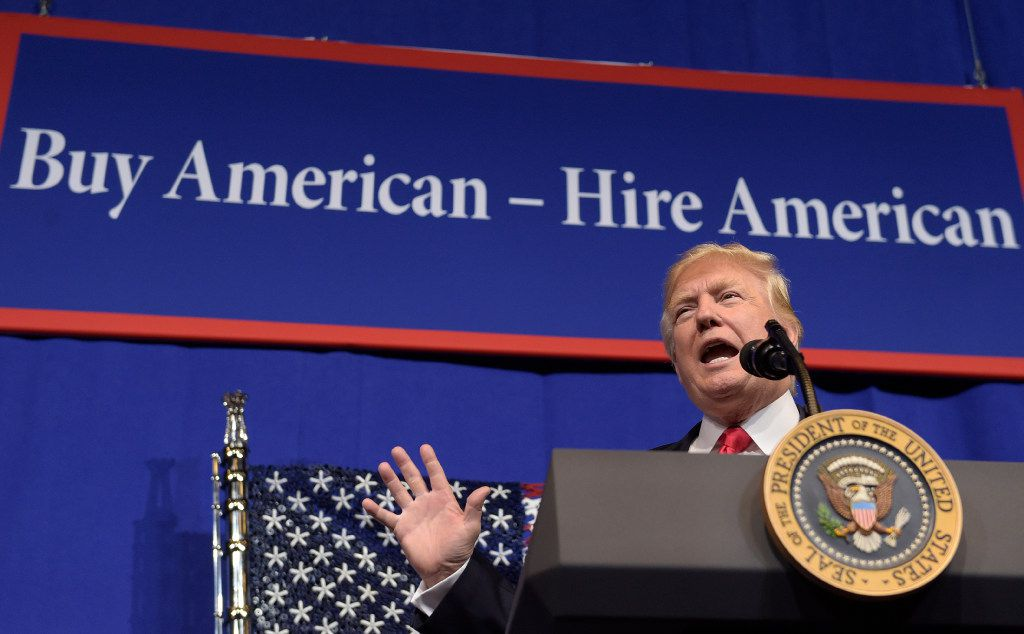 President Donald Trump speaks at tool manufacturer Snap-on Inc. in Kenosha, Wis., Tuesday, April 18, 2017. Trump visited the headquarters of tool manufacturer Snap-on Inc., and will later sign a an executive order that seeks to make changes to a visa program that brings in high-skilled workers. (AP Photo/Susan Walsh)