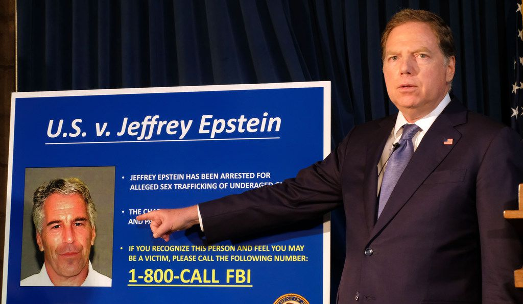 Geoffrey S. Berman, the United States Attorney Southern District of New York, points to a picture of Jeffrey Epstein — who was arrested July 6 and charged with sex trafficking of minors and conspiracy to commit sex trafficking of minors — during a July 8 press conference at Southern District headquarters in downtown Manhattan.
