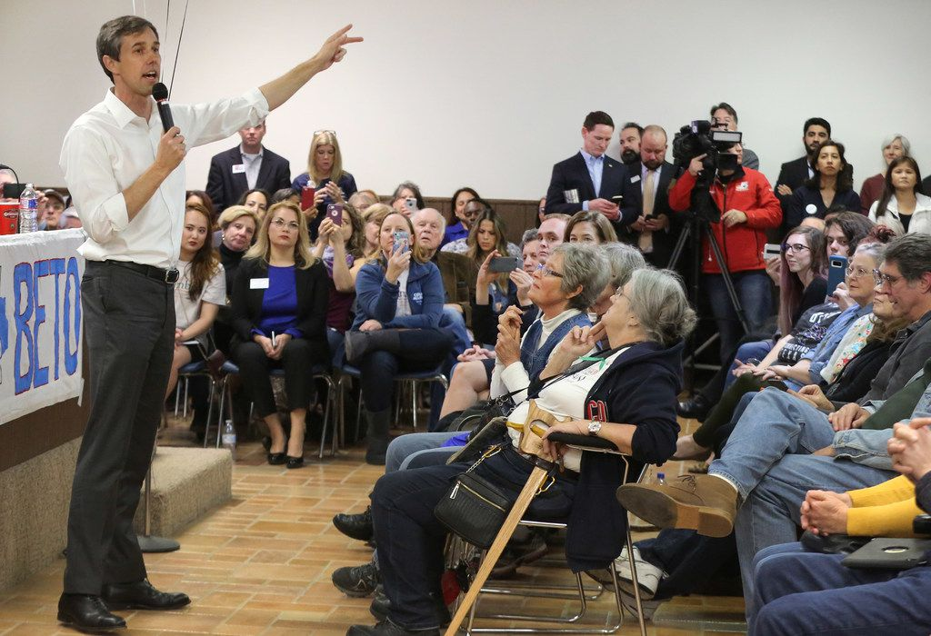 El Paso Rep. Beto O'Rourke, who is challenging Ted Cruz for his Senate seat, talks with the crowd at a town hall meeting in Garland on Jan. 26.