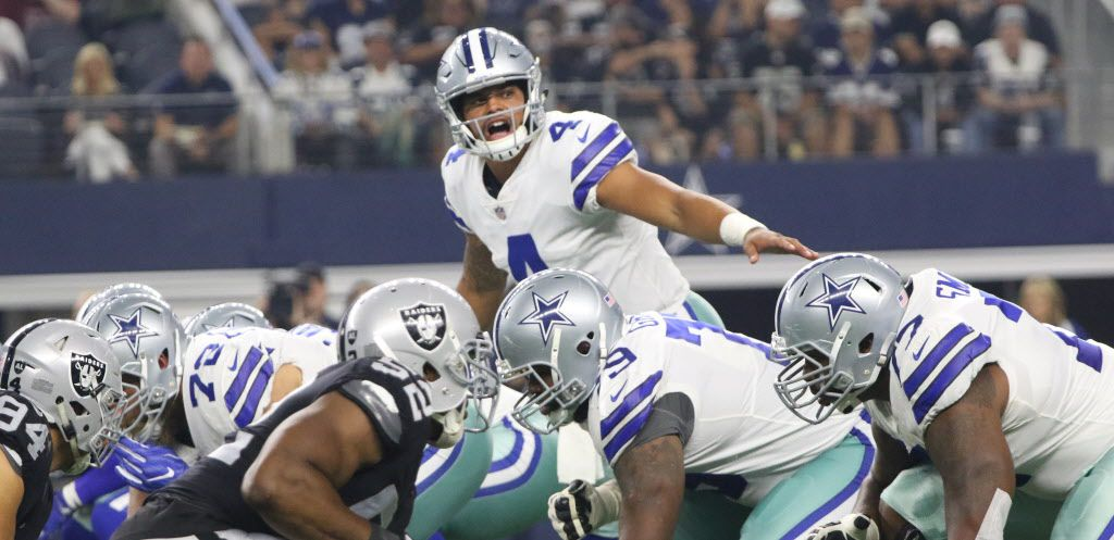 Dallas Cowboys Dak Prescott (4 ) calls the signal  during the 1st quarter of action of the Dallas Cowboys vs Oakland Raiders preseason game at AT&T Stadium in Arlington on Saturday, August 26, 2017. (Irwin Thompson/The Dallas Morning News)