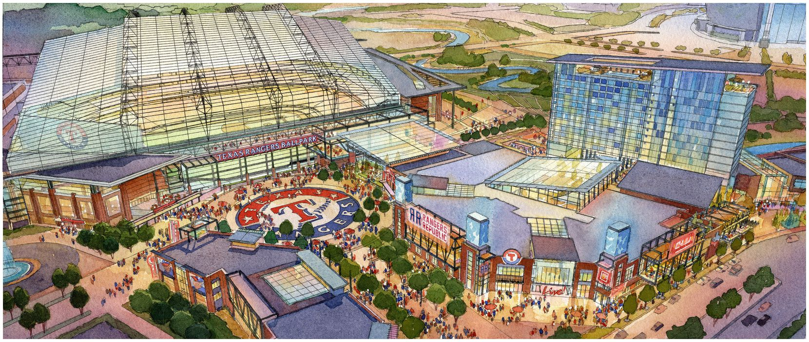 Artist rendering of proposed new Texas Rangers stadium and proposed Texas Live! development