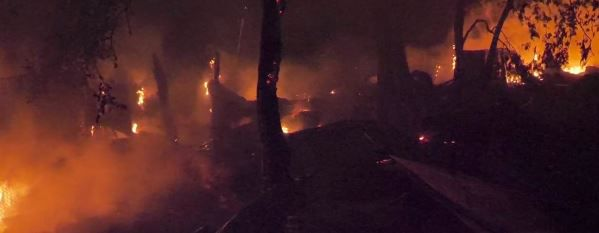 Union Pacific cars burn after a derailment caused ethanol to spill Wednesday morning in Fort Worth.