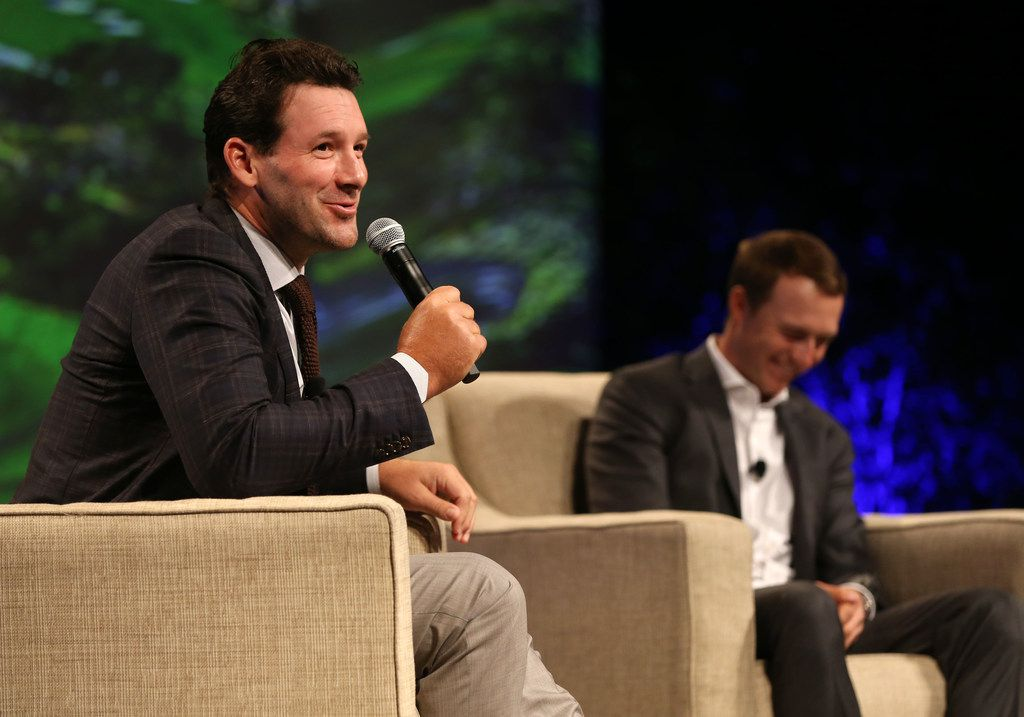 "Tony Romo speaks alongside Jordan Spieth during ""A Conversation With a Living Legend"" at the Hilton Anatole in Dallas on Monday, Nov. 5, 2018. The event benefits the University of Texas MD Anderson Cancer Center. (Rose Baca/The Dallas Morning News)"