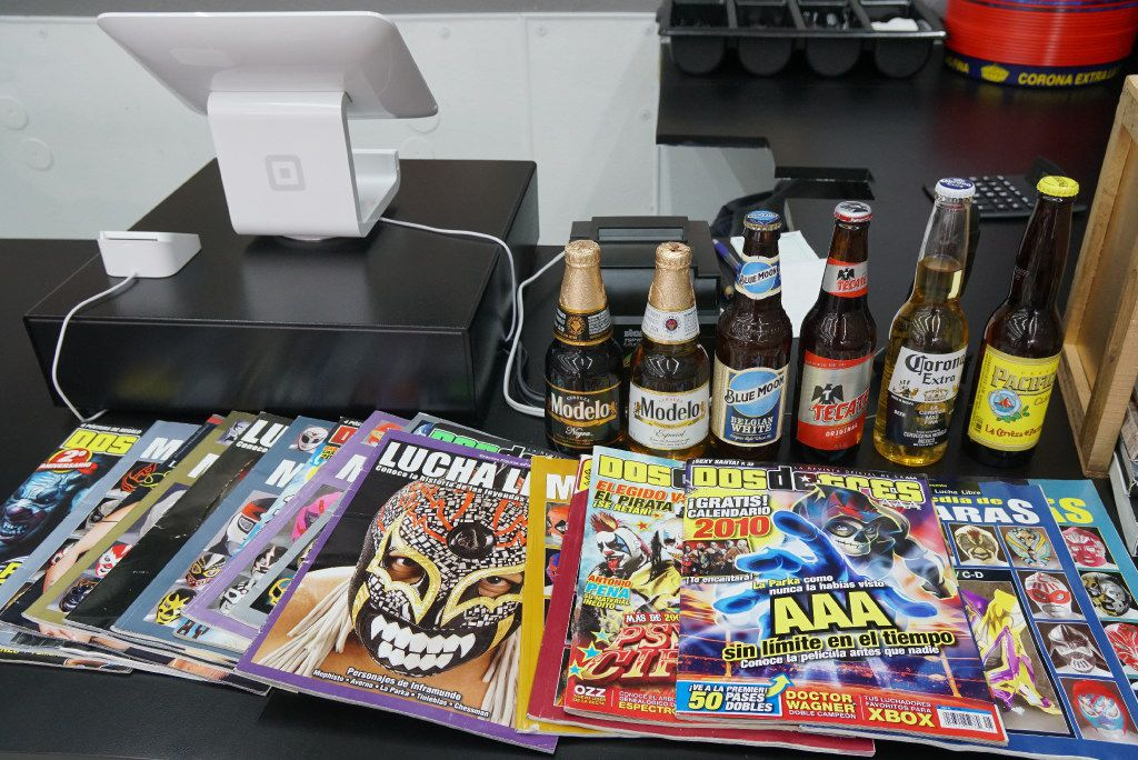 Magazines are available for lucha libre fans to read while they eat at Maskaras Mexican Grill in Dallas.