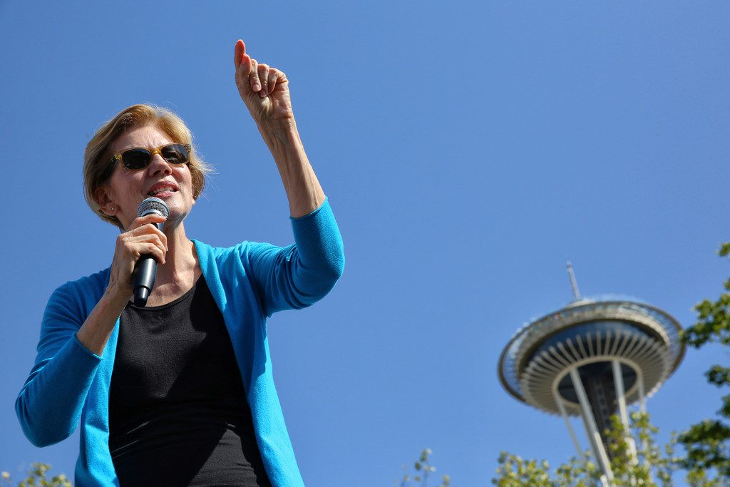 Democratic presidential candidate Sen. Elizabeth Warren speaks to supporters gathered for her town hall campaign event at Seattle Center on Aug. 25, 2019, in Seattle.
