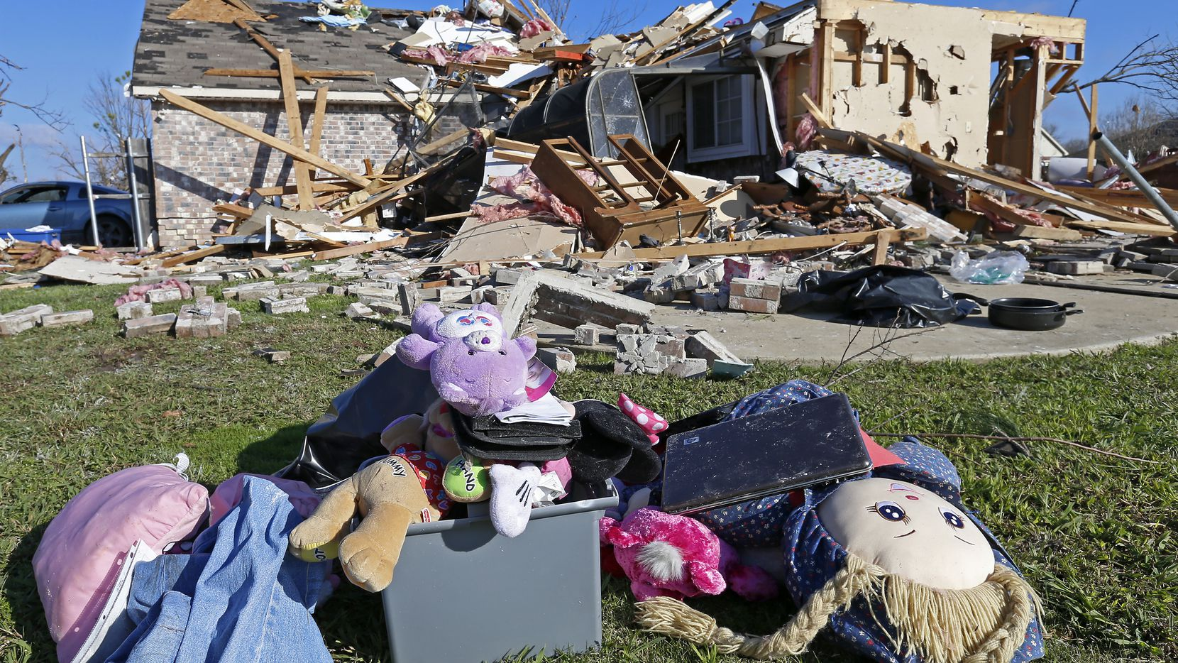 Damage of a house is seen in the aftermath of a Dec. 26, 2015 tornado in Rowlett.