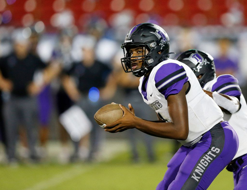 FILE - Frisco Independence's Braylon Braxton (1) takes a snap during a game against Frisco Liberty at Toyota Stadium in Frisco on Thursday, Sept. 26, 2019.