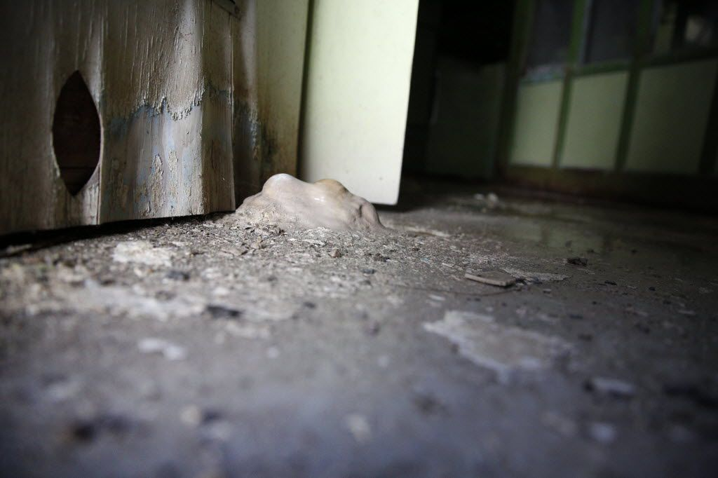 A stalagmite, made from mineral deposits that have precipitated from water dripping onto the floor, forms inside the former children's ward and school, unoccupied since 1985, at the Terrell State Hospital in Terrell, Texas on April 21, 2016. (Rose Baca/The Dallas Morning News)