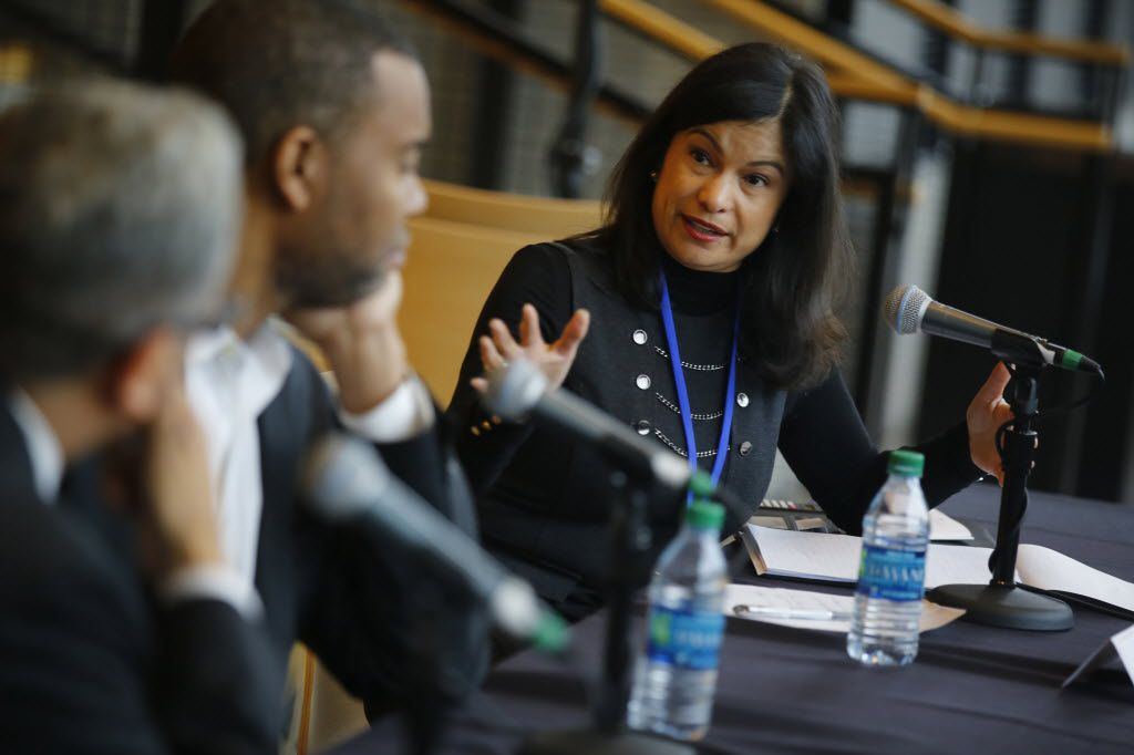 Florencia Velasco Fortner talks to Ta-Nehisi Coates (center) and James Ragland (left) during a session at Dallas Festival of Ideas at   Dallas Performance Hall  Feb. 28, 2015. (Nathan Hunsinger/The Dallas Morning News)