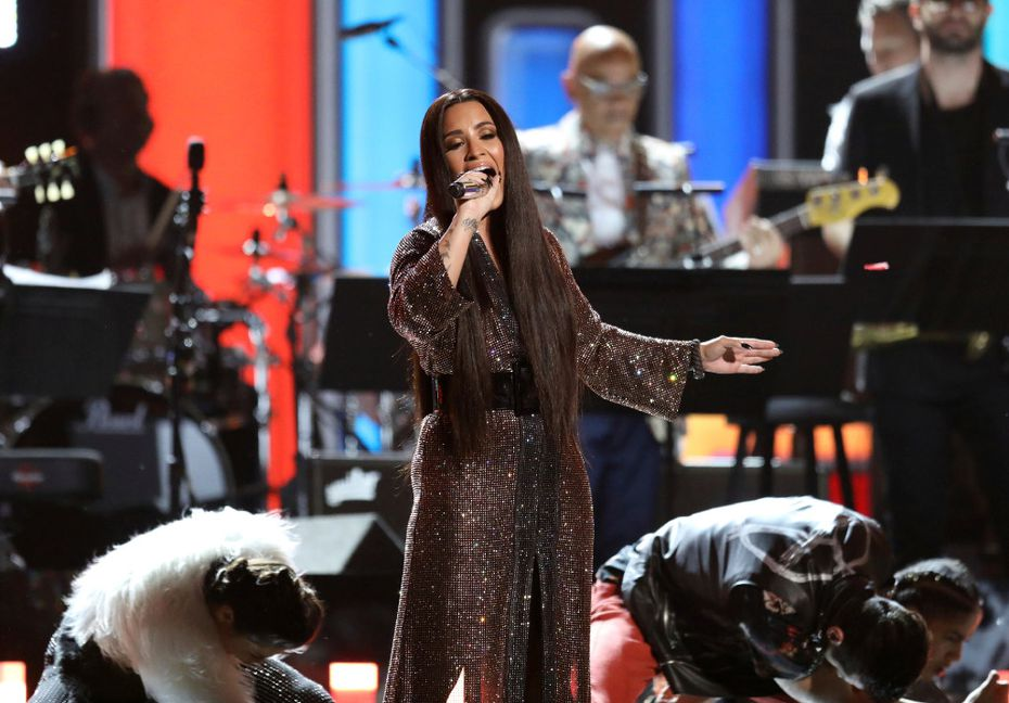 Demi Lovato performs a tribute to the Bee Gees at the 59th annual Grammy Awards on Sunday, Feb. 12, 2017, in Los Angeles. (Photo by Matt Sayles/Invision/AP)