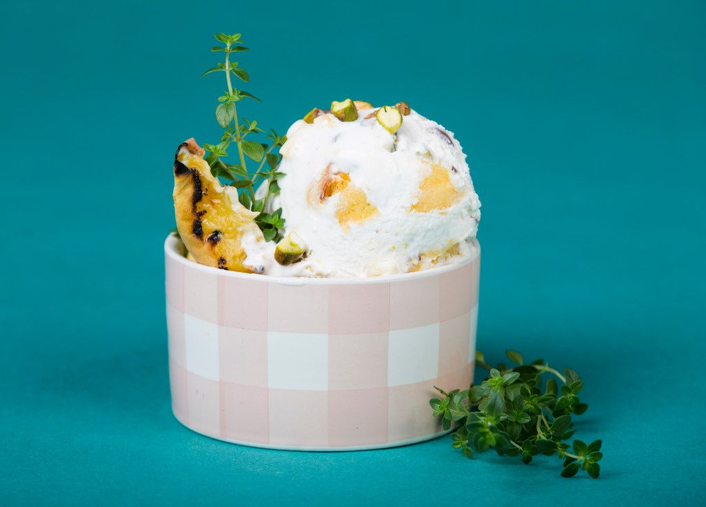 Peach pistachio  ice cream with thyme