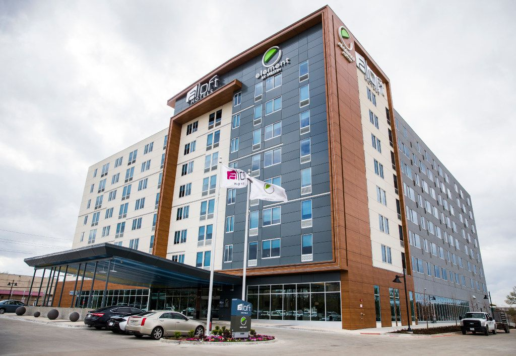 The exterior of Aloft and Element Dallas Love Field hotel on Thursday, March 9, 2017 at in Dallas. The hotel will be part of West Love, an ongoing 37-acre mixed-use development. (Ashley Landis/The Dallas Morning News)